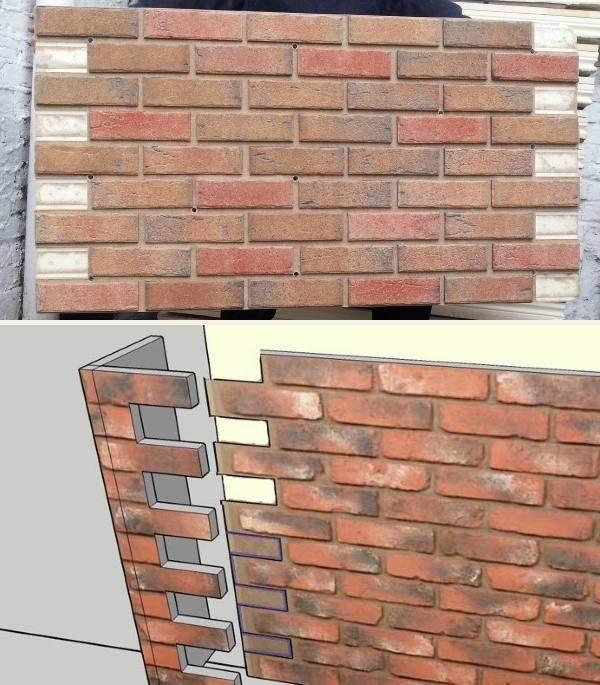 Отделка фасада панелями под кирпич - фото установки