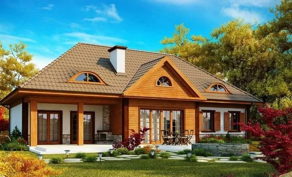 красивые одноэтажные дома с мансардой, фото 50