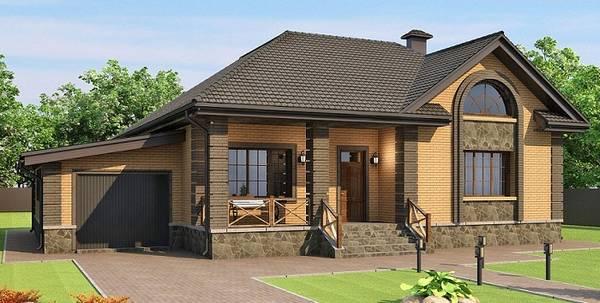 красивые одноэтажные кирпичные дома, фото 35