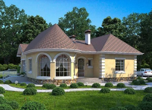 красивые проекты одноэтажных домов, фото 48
