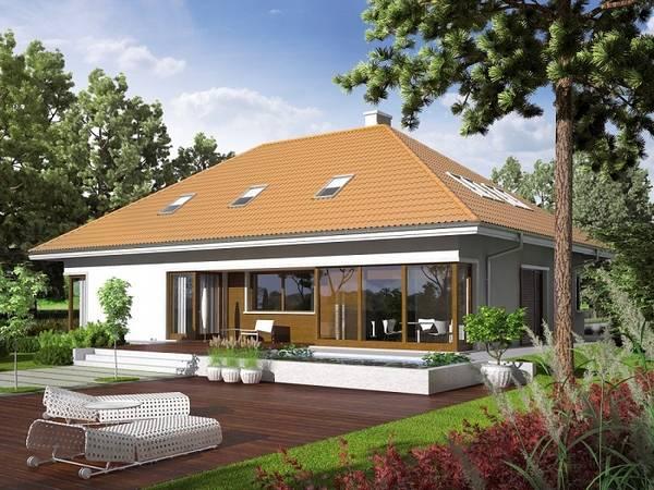 красивые одноэтажные дома с мансардой, фото 49