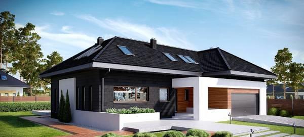 красивые одноэтажные дома с гаражом, фото 81