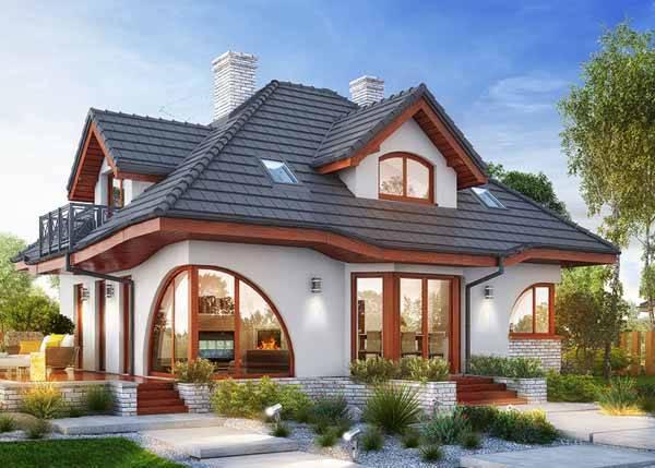 красивые одноэтажные дома с мансардой, фото 52