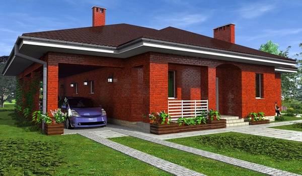 красивые одноэтажные кирпичные дома, фото 34
