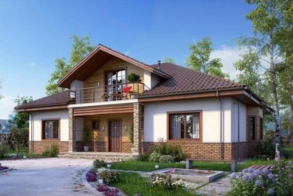 красивые одноэтажные дома с мансардой, фото 51